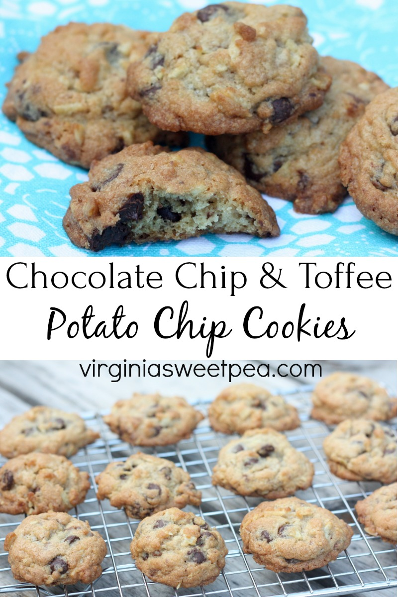 Chocolate Chip & Toffee Potato Chip Cookies - Salty combined with sweet makes this a winning cookie recipe.  #cookie #cookierecipe #toffee #chocolatechips via @spaula
