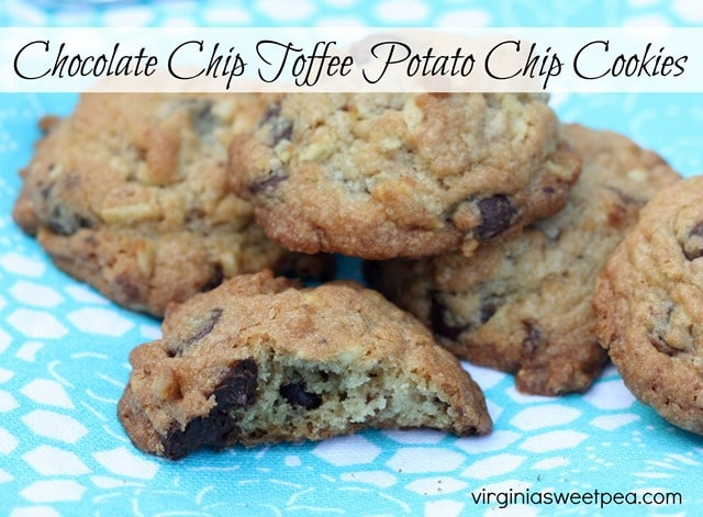 Chocolate Chip Toffee Potato Chip Cookies - This is a great cookie, crisp and full of flavor. Get the recipe at virginiasweetpea.com.