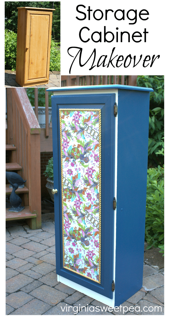 Storage Cabinet Makeover - A Sauder storage cabinet gets a new look with paint and wrapping paper. virginiasweetpea.com