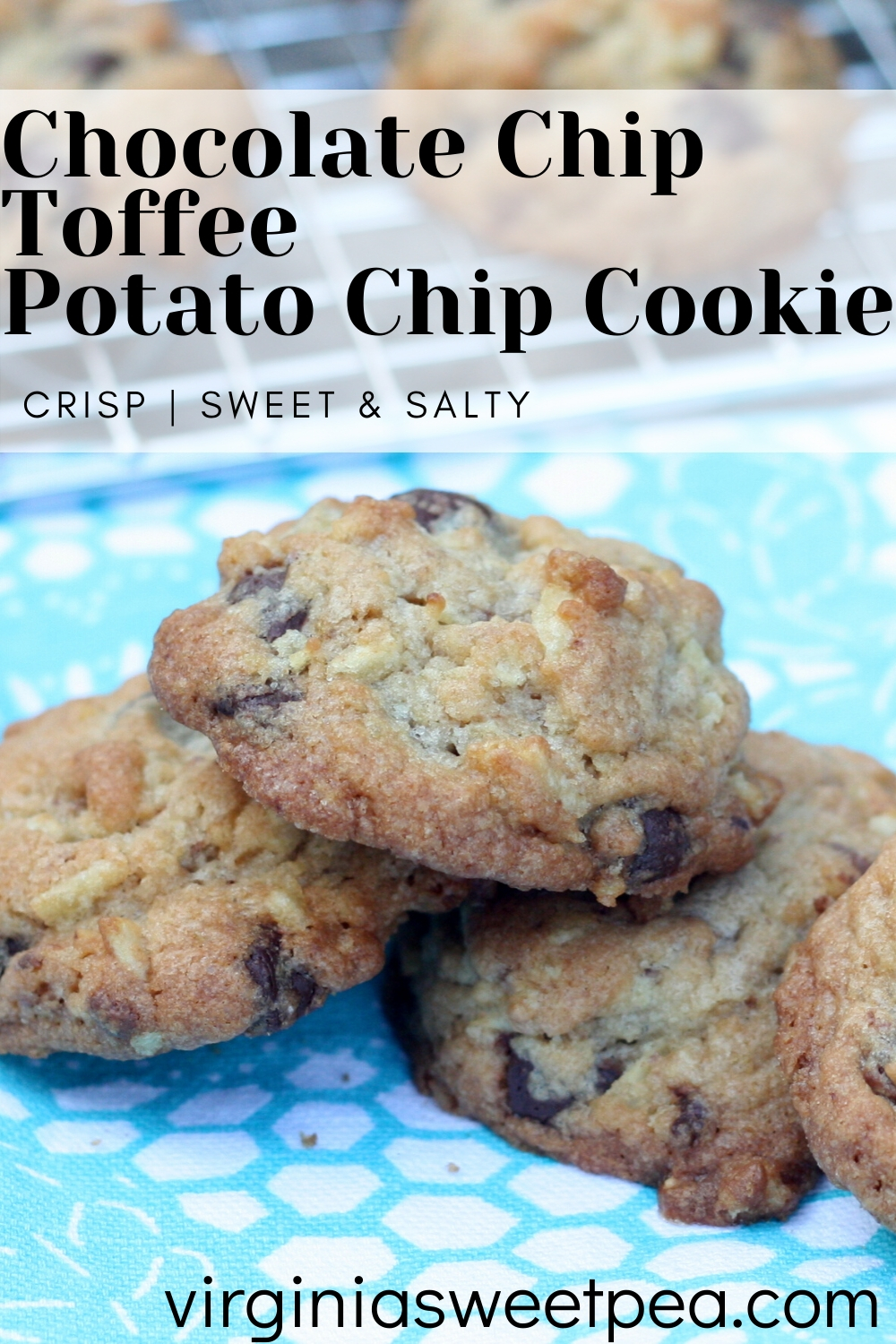 Chocolate Chip & Toffee Potato Chip Cookies - Salty combined with sweet makes this a winning cookie recipe.  #cookie #cookierecipe #toffee #chocolatechips #potatochipcookie via @spaula