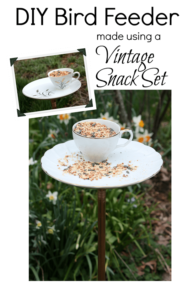 DIY Bird Feeder Made Using a Vintage Snack Set