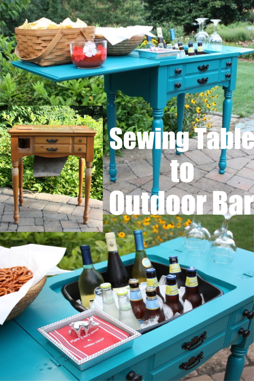 Sewing Table to Outdoor Bar - Learn how to upcycle a sewing table into an outdoor bar perfect for entertaining.  The table leaves hold snacks, napkins, and glasses while the former sewing machine area replaced with a dishpan holds ice and drinks.  #upcycle #sewingcabinetideas #sewingcabinet #repurposed via @spaula