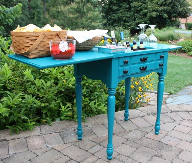 A sewing cabinet is now an outdoor bar and serving area. This would be perfect to use on a patio, deck, or beside a pool. Get the details at virginiasweetpea.com.