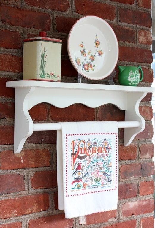 A thrift shop found shelf gets a makeover with paint.  virginiasweetpea.com