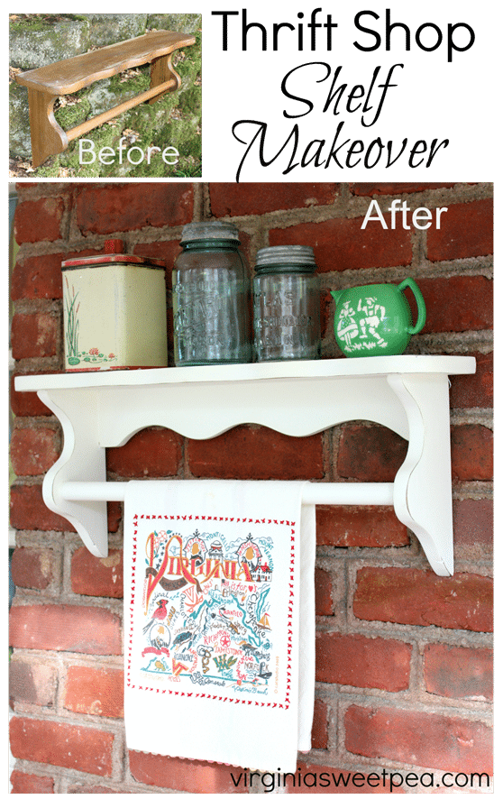 Thrift Shop Shelf Makeover - Paint with a bit of distressing gives this shelf and update look.   virginiasweetpea.com