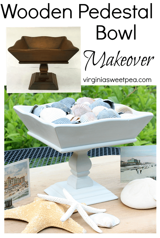 Wooden Pedestal Bowl Makeover - A Goodwill found bowl gets a makeover.  virginiasweetpea.com
