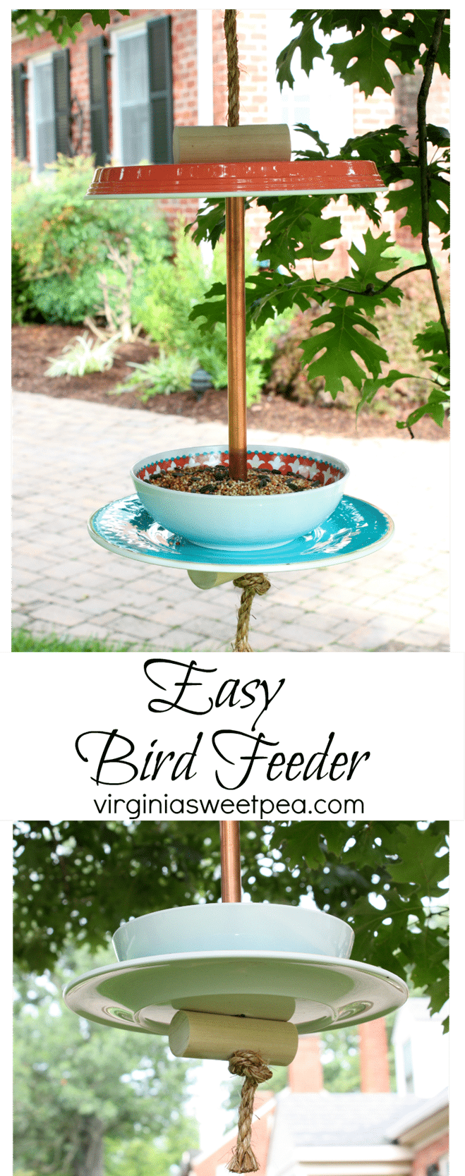 Learn how to make an easy bird feeder with plastic dinnerware. This is an easy DIY. Get the full tutorial at virginiasweetpea.com.