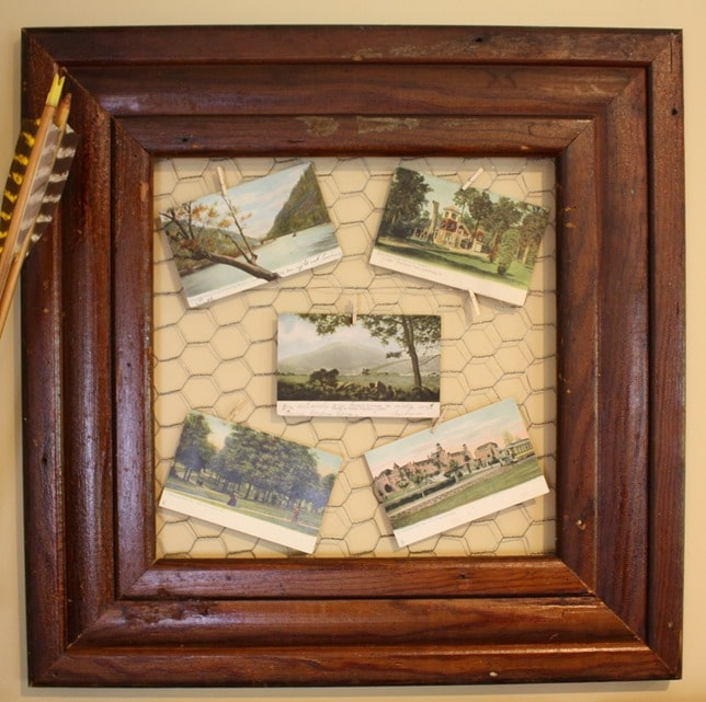 How to Display Post Cards - Use a frame and chicken wire. virginiasweetpea.com