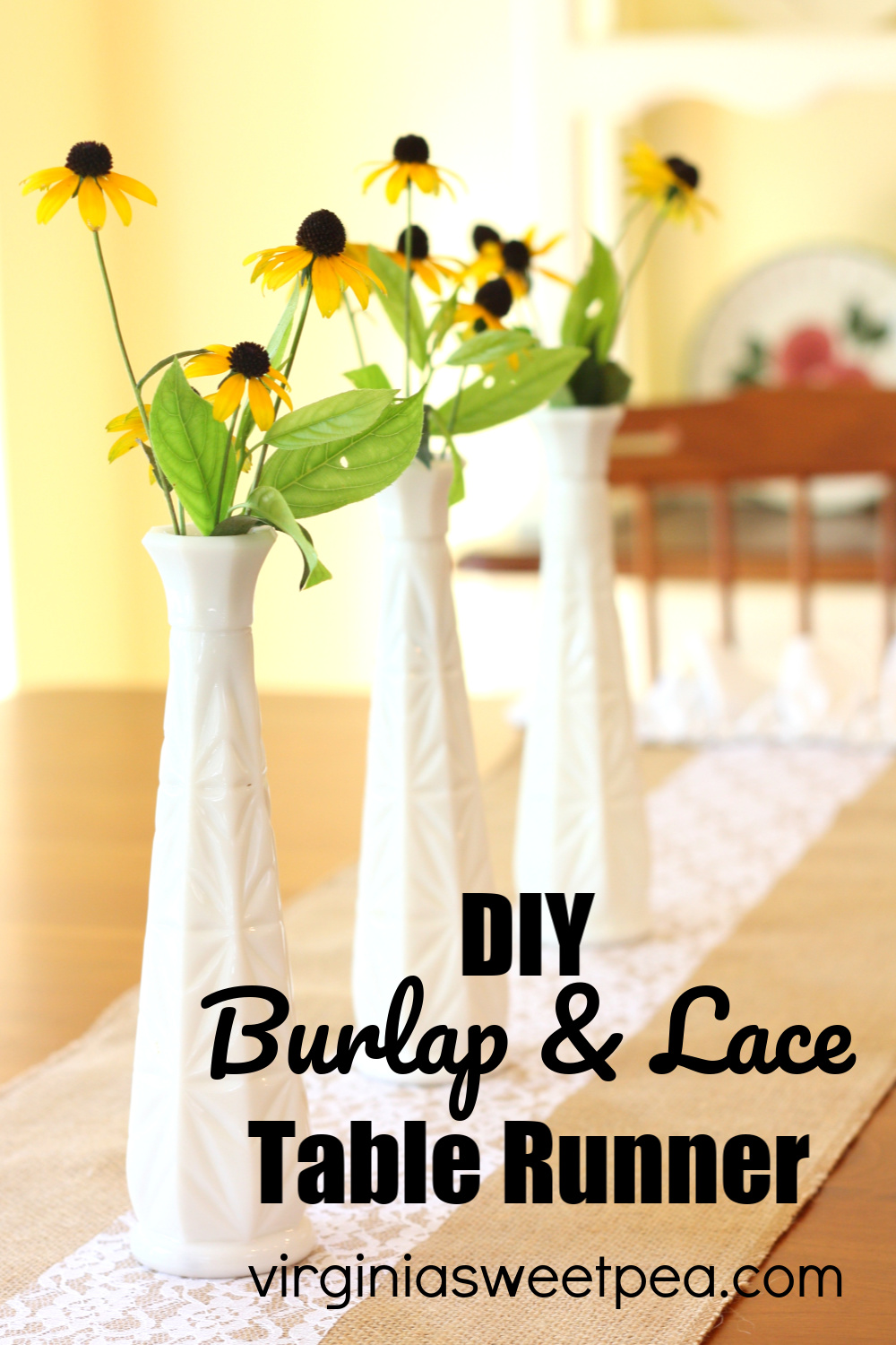 DIY Burlap and Lace Table Runner - Learn how to make a burlap and Lace table runner with a ruffled edge. #burlaptablerunner #burlap #burlapandlace via @spaula