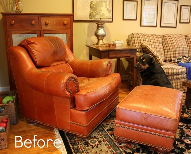 Chair and Ottoman Before Makeover with ReLuv