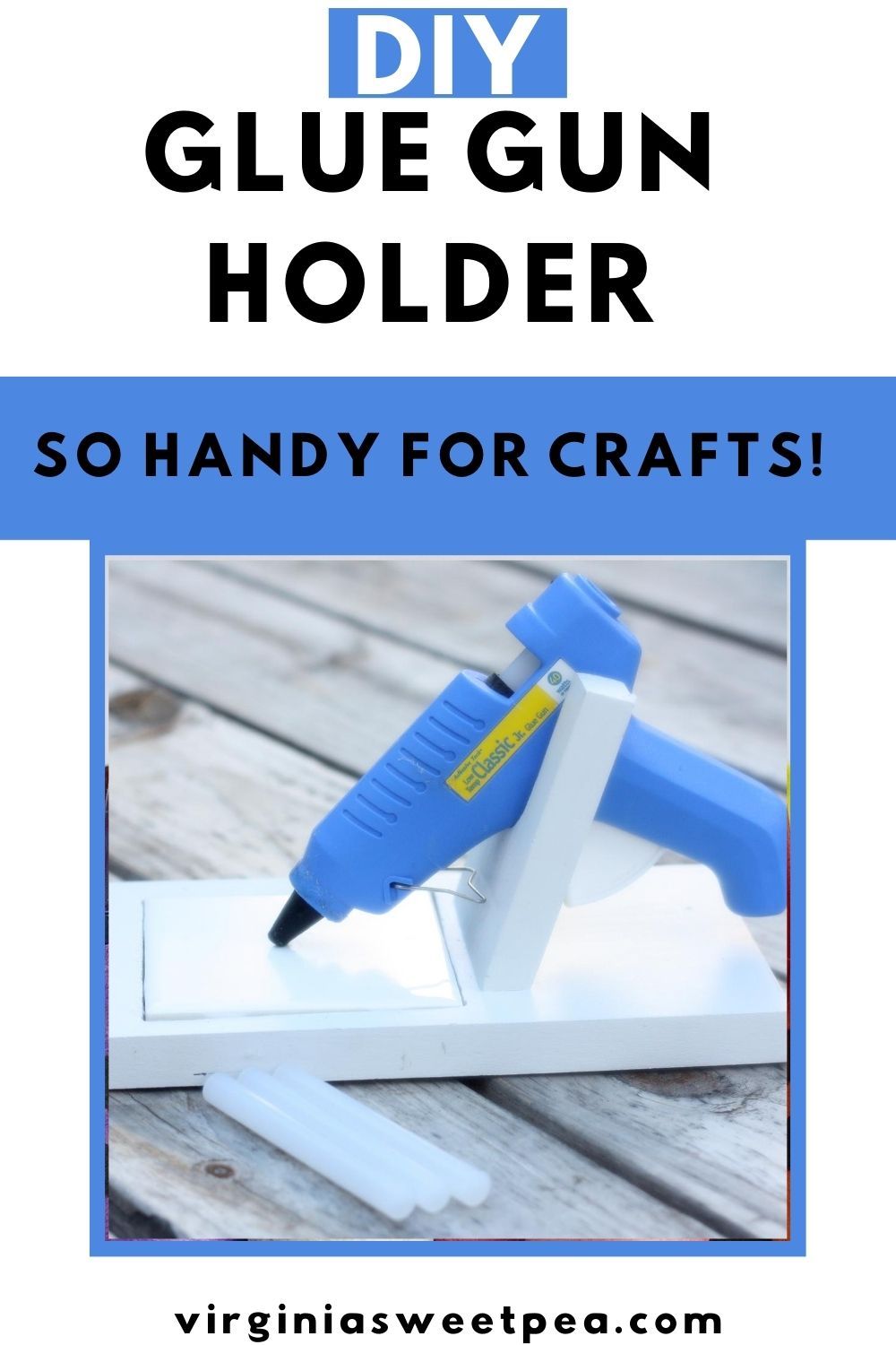 DIY Glue Gun Holder - Learn how to make a glue gun holder. This woodworking project isn't difficult to make and is super handy for any crafter to own. Not only does this hold a glue gun, but it also catches pesky glue drips. #gluegunholder via @spaula