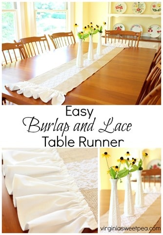 Easy to Make Burlap and Lace Table Runner