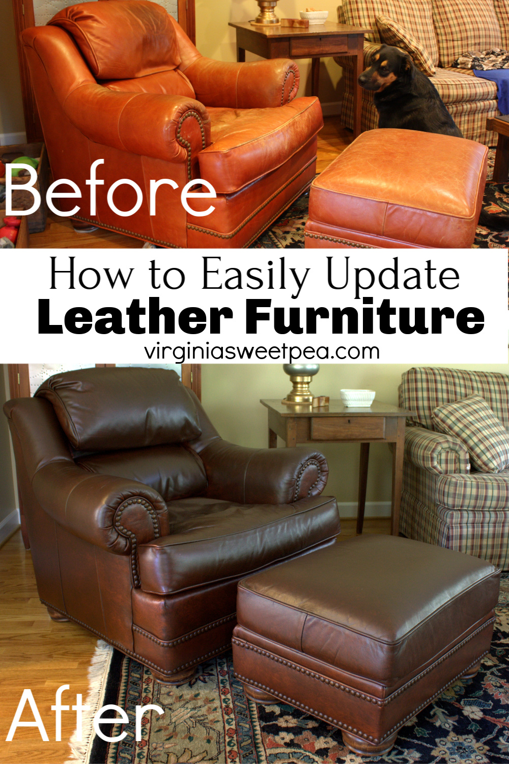 How to Easily Update Leather Furniture - Did you know that you can change the color of leather furniture?  See how our leather chair and ottoman went from an orange-red color to a beautiful chestnut brown.  #leatherfurnituremakeover #furnituremakeover  via @spaula