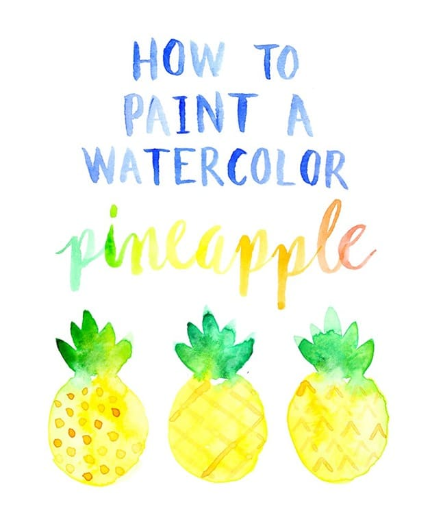 How-to-paint-a-watercolor-pineapple-by-Lines-Across