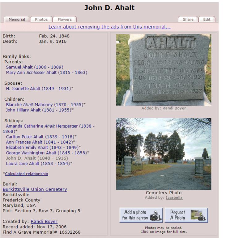 John D. Ahalt Grave