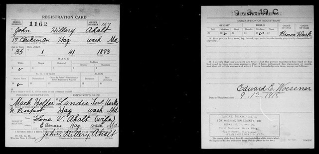 John D. Ahalt WWI Registration Card - Back