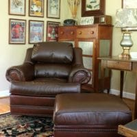 A 20 year old leather chair and ottoman look new after using ReLuv Leather Renew. Get the details at virginiasweetpea.com.