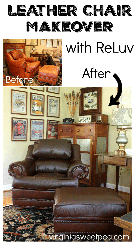 Leather Chair Makeover with ReLuv - Get the details on how I made this 20 year old chair look like new using one produt. Get the details at virginiasweetpea.com.