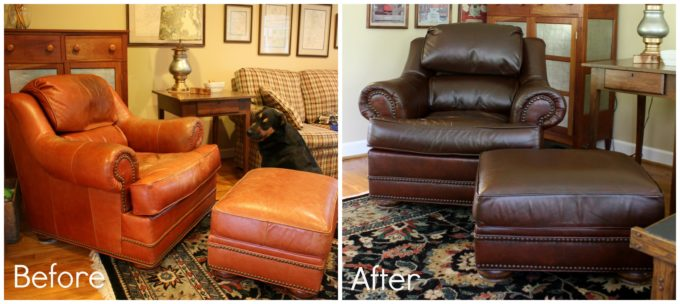 ReLuv Leather Renew gave this 20 year old chair and ottoman a much needed update. It looks like new!