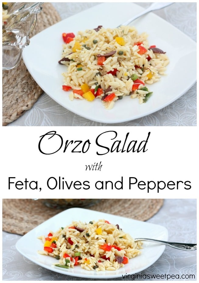 Orzo Salad with Feta, Olives and Peppers - Get the recipe at virginiasweetpea.com.
