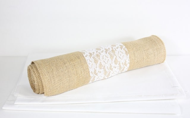 Supplies needed to make an easy burlap and lace table runner with a ruffle. virginiasweetpea.com