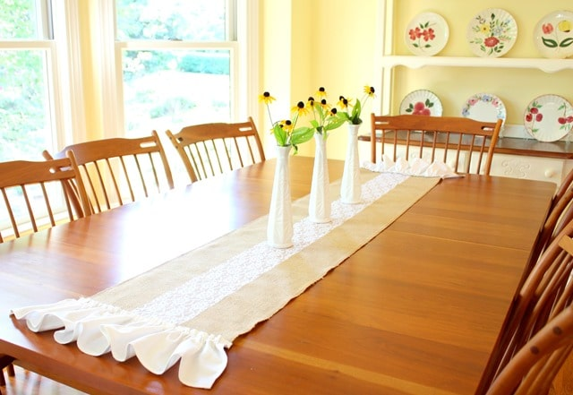 Make an easy lace and burlap table runner that can be enjoyed in any season. virginiasweetpea.com