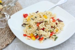 Orzo Salad with Feta, Olives, and Peppers
