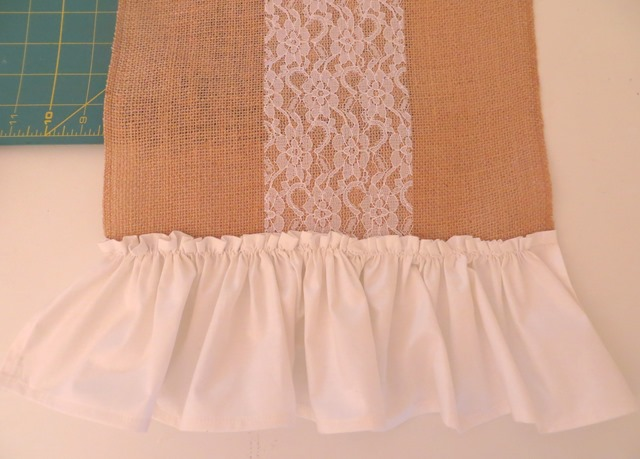 Easy burlap and lace table runner tutorial.