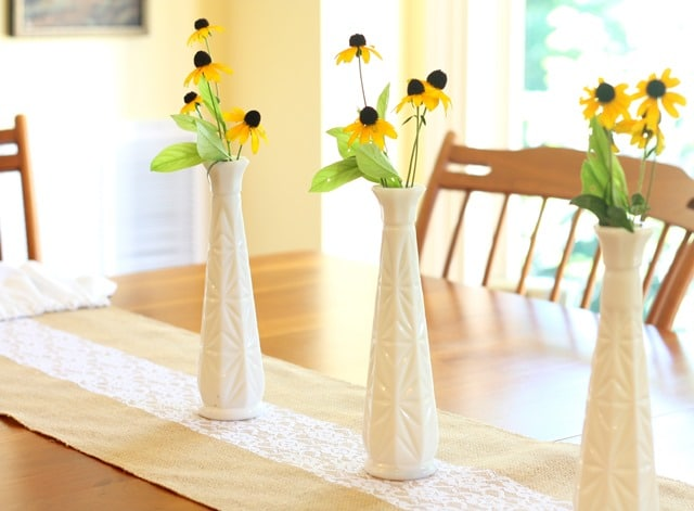Milk glass vases filled with summer blooms are the perfect late summer centerpiece. virginiasweetpea.com