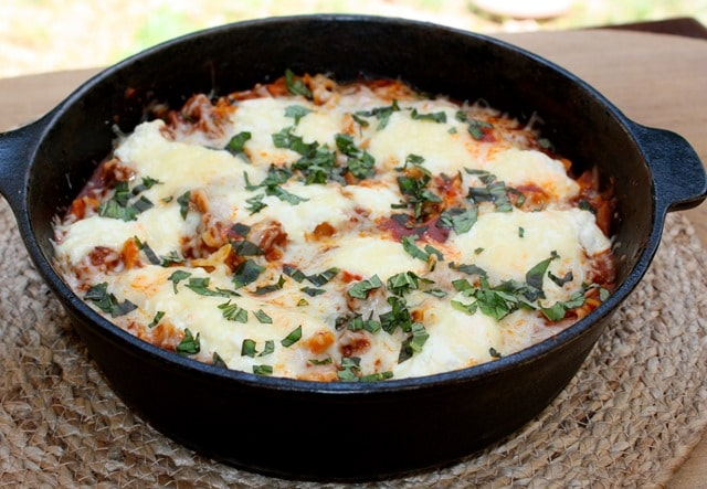 Dinner can be on the table in 30 minutes! Make a skillet lasagna that is quick to make and tasty. Get the recipe at virginiasweetpea.com.