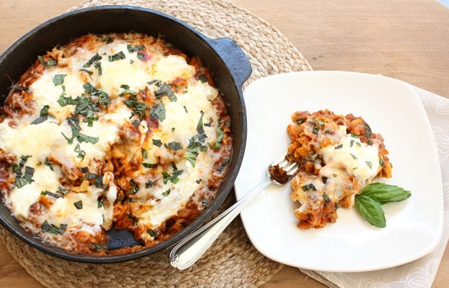 30 Minute Skillet Lasagna is the perfect weeknight meal. It's quick to make and quite tasty! Get the recipe at virginiasweetpea.com.