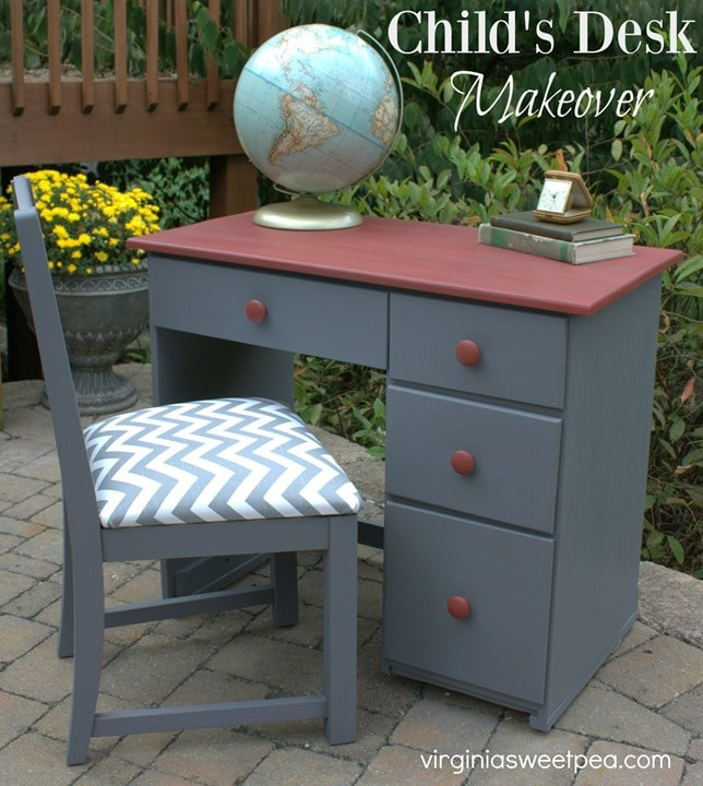 Child's Desk Makeover by virginiasweetpea.com