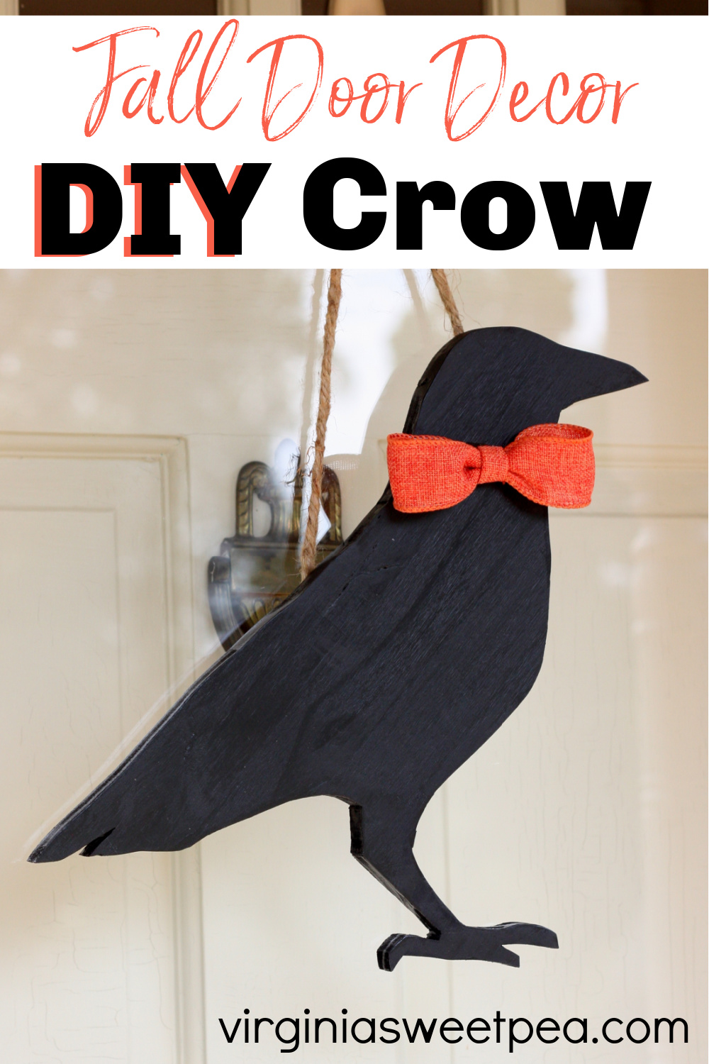 DIY Crow for Fall - Learn how to make a crow to hang on a door or wall for fall decorating.  #falldecor #crow #fallcraft #falldecoration via @spaula