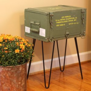A Cold War era ammunition crate is repurposed into a table. Get the details at virginiasweetpea.com.