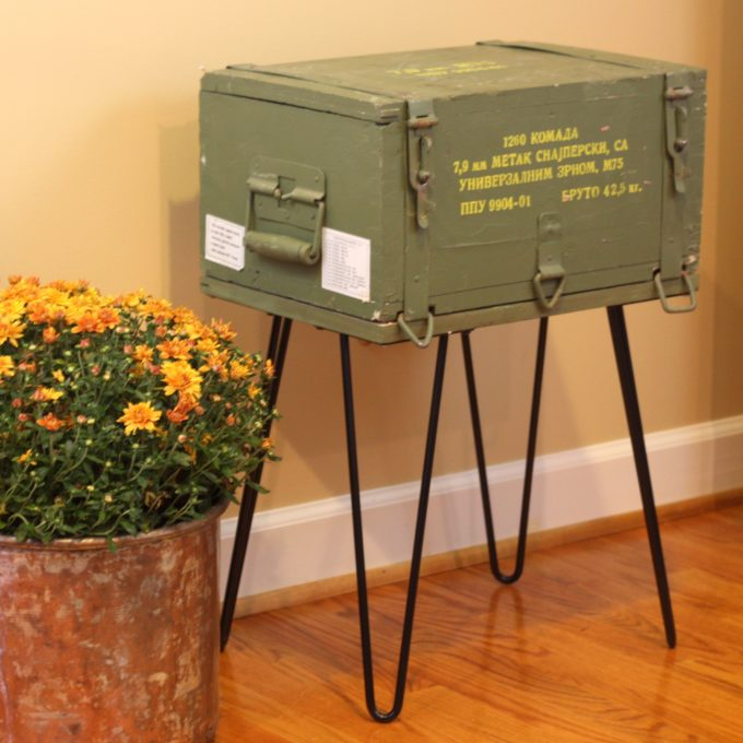 A Cold War era ammunition crate is repurposed into a table. Get the step-by-step tutorial to make one for your home. #repurpose #upcycle #repurposeproject #upcycleproject #ammunitioncrate