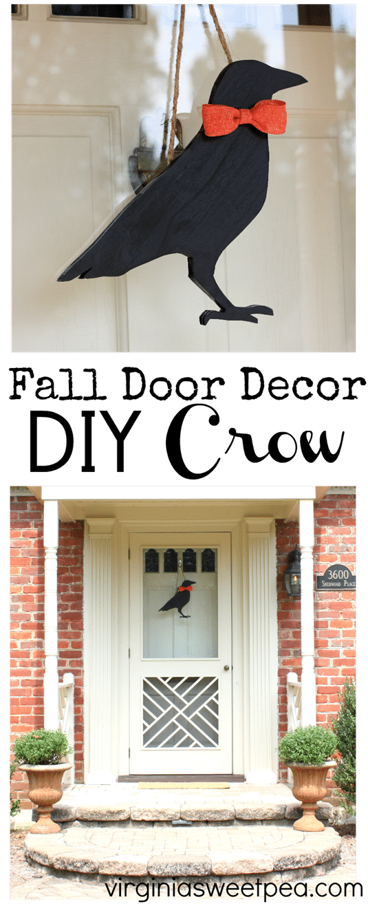 Make a DIY crow for fall door decor. Get the instructions for this easy DIY at virginiasweetpea.com