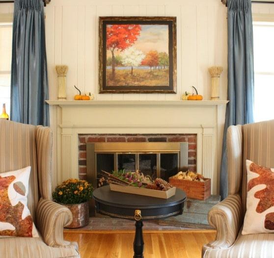 Fall Mantel and Living Room Decor - virginiasweetpea.com