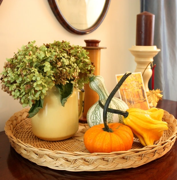 Fall Vignette with Gourds and Hydrangea I Fall Mantel and Living Room Decor - Get ideas for decorating your mantel and living room for fall. #fall #falldecor #fallvignette #falldecorating #vintage