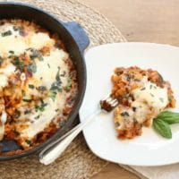 Make dinner in 30 minutes with this easy lasagna made in a skillet.