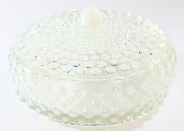 Fenton French White Covered Powder Dish