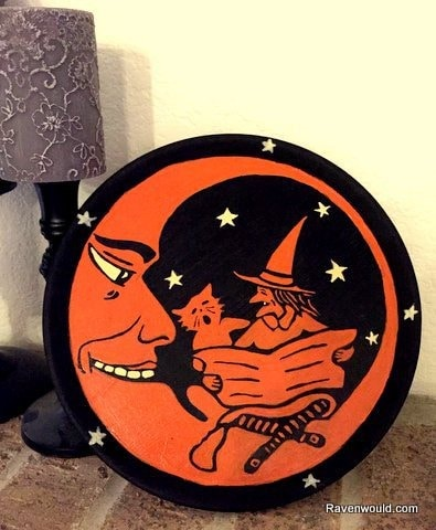 Halloween Cake Plate with Vintage Scene
