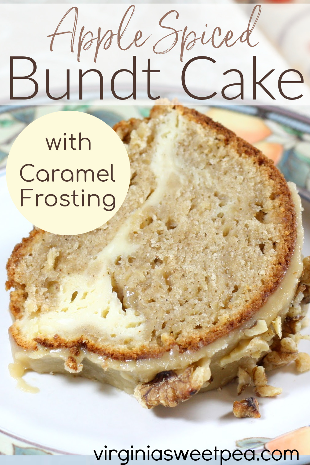 Apple Spice Bundt Cake with Caramel Frosting - Warm spices of chai, cardamom, and coriander along with apples give this cake its unusual and very good flavor. #applespicecake #cakerecipe #poundcakerecipe #poundcake via @spaula