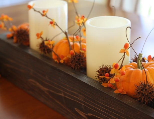 Fall Decorated DIY Wood Box - Get the tutorial to make your own for less than $10. - virginiasweetpea.com