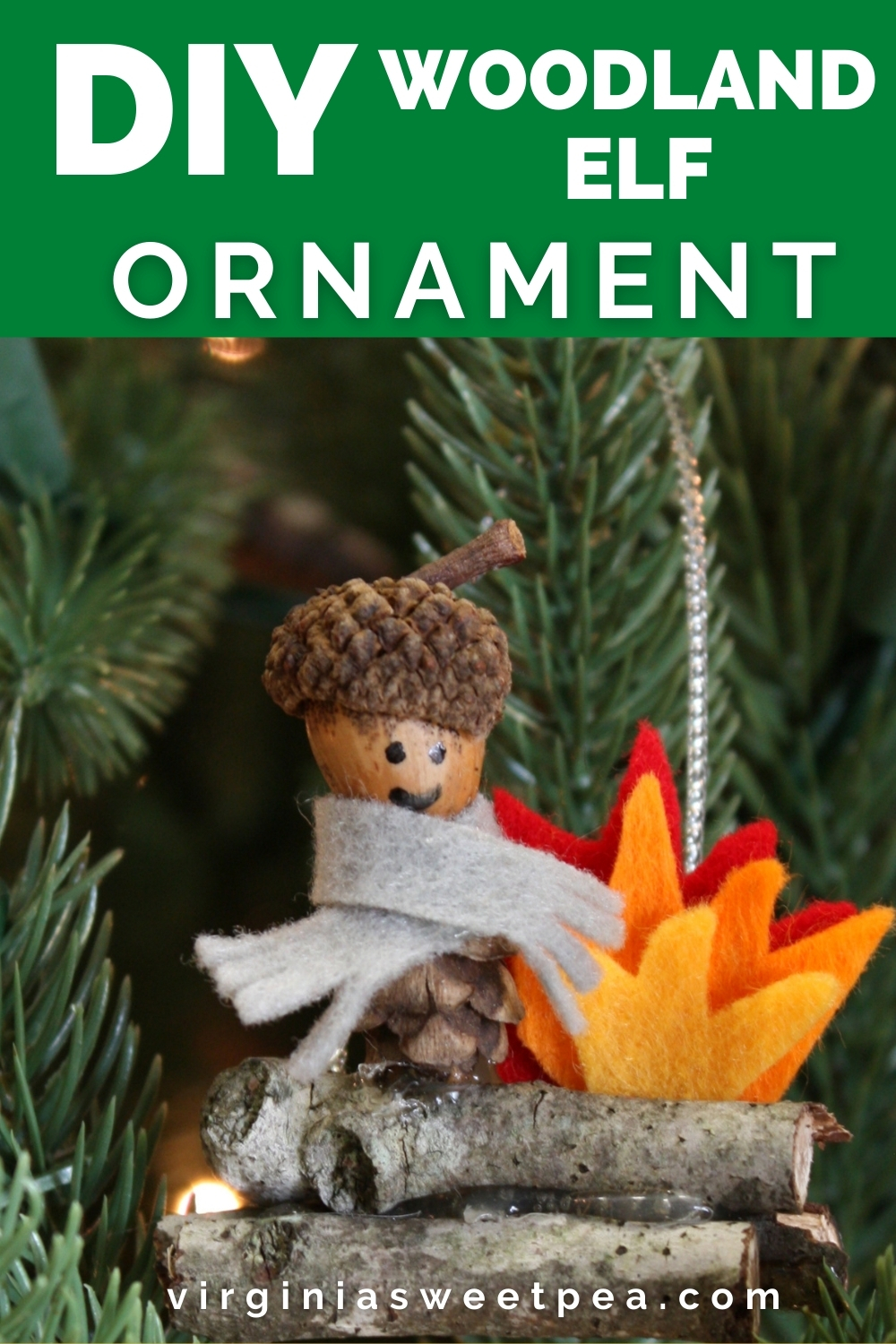DIY Woodland Elf Christmas Ornament - Learn how to make this adorable ornament using items found in nature plus a few craft supplies. #diychristmasornament #handmadechristmasornament via @spaula