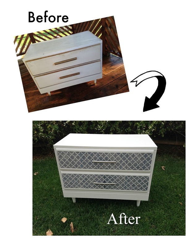 White stenciled drawer
