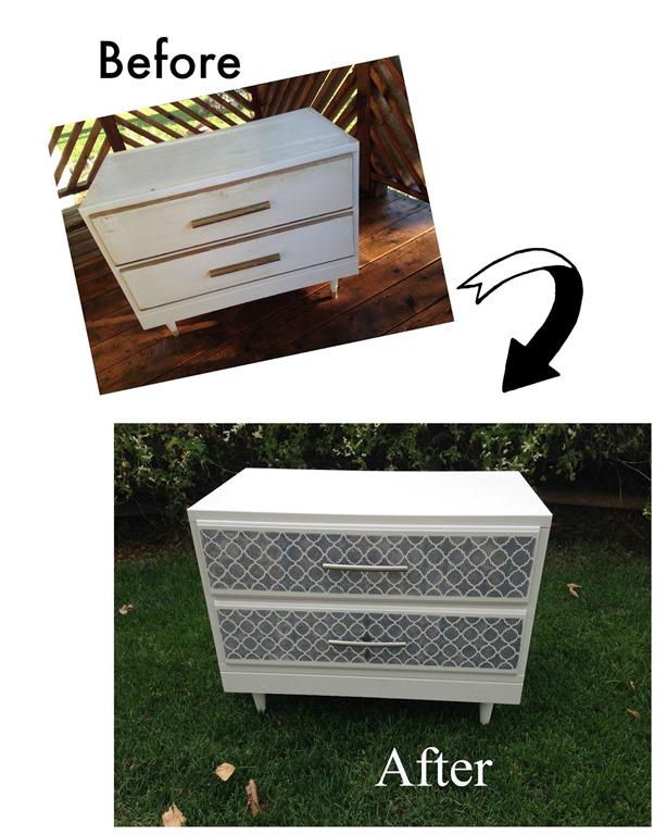 White stenciled drawer