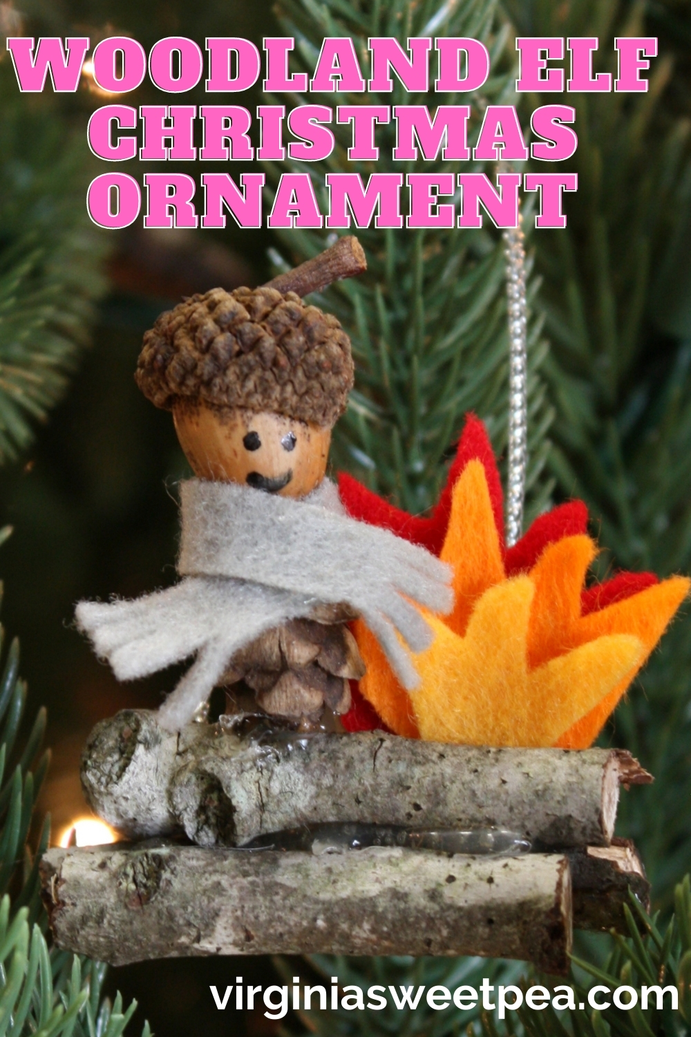 Woodland Elf Christmas Ornament - Learn how to make this adorable ornament using items found in nature plus a few craft supplies.  #diychristmasornament #handmadechristmasornament via @spaula