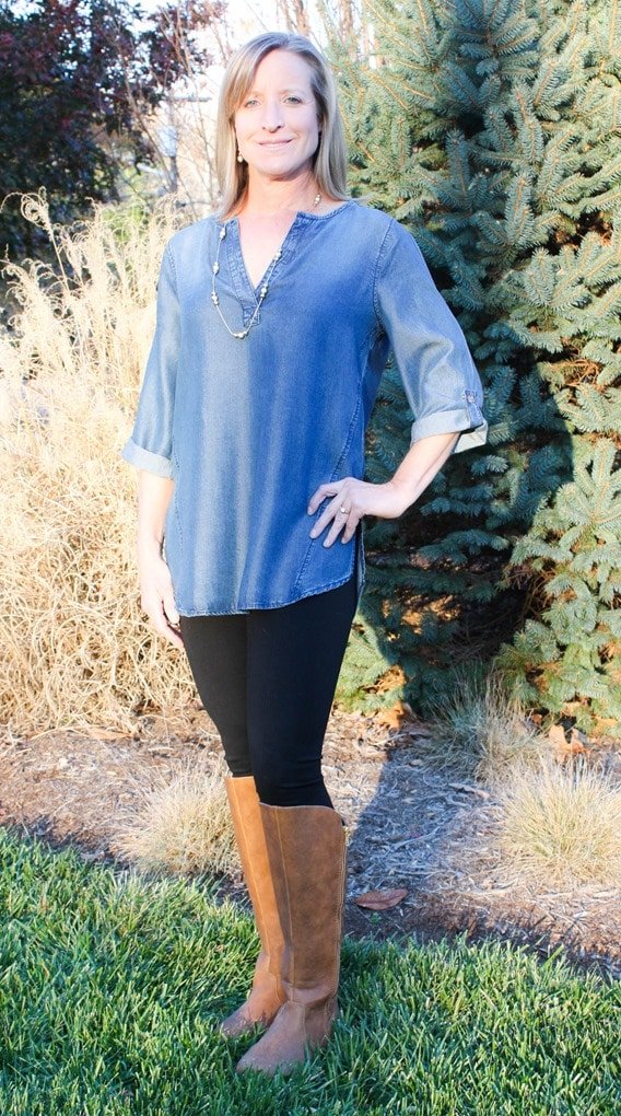 Stitch Fix Review and Giveaway - December 2016 - Renee C Kally Split Neck Chambray Tunic - virginiasweetpea.com