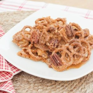 Butterscotch Pecan Pretzel Brittle - This is the perfect balance of sweet and salty and is so good. Get the recipe at virginiasweetpea.com.