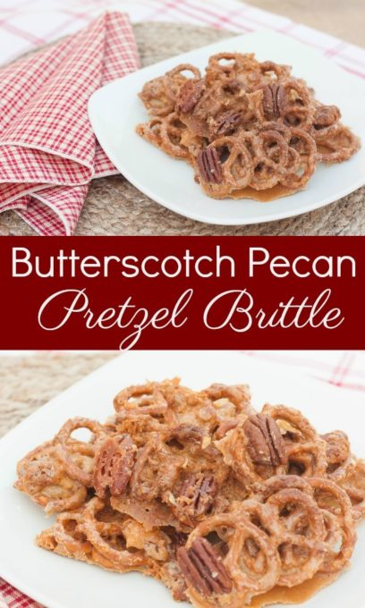Butterscotch Pecan Pretzel Brittle - This sweet treat is great for snacking and it makes a good Christmas gift to give to friends and neighbors.  virginiasweetpea.com  #brittle #pecan #butterscotch #pretzelbrittle #pecanbrittle